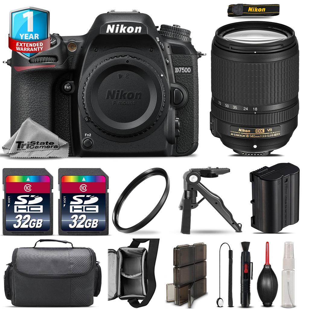 D7500 Camera + AFS 18-140mm VR + 1yr Warranty + Canon Case + UV - 64GB Kit *FREE SHIPPING*