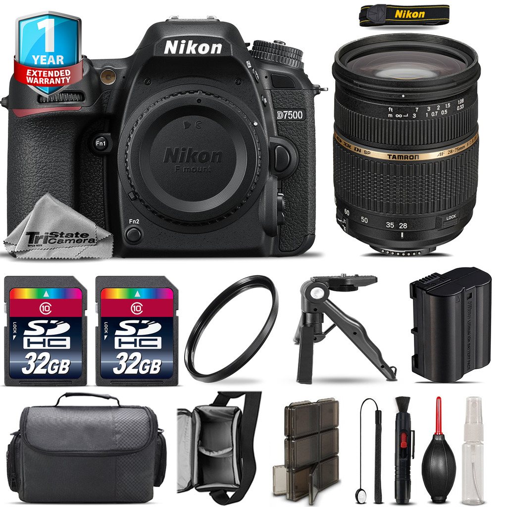 D7500 Camera + 28-75mm 2.8 XR + 1yr Warranty + Canon Case + UV - 64GB Kit *FREE SHIPPING*