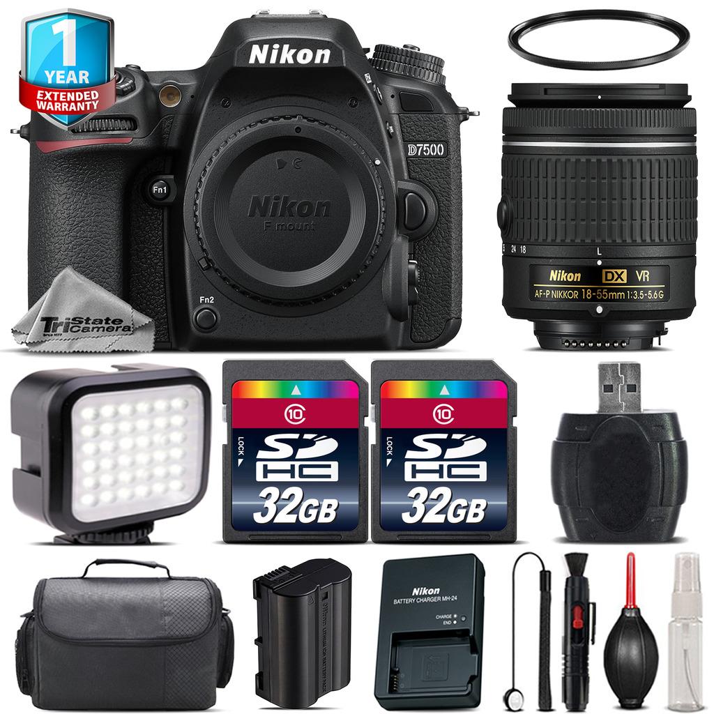 D7500 Camera + AF-P 18-55mm VR + LED + Case + 1yr Warranty - 64GB Bundle *FREE SHIPPING*