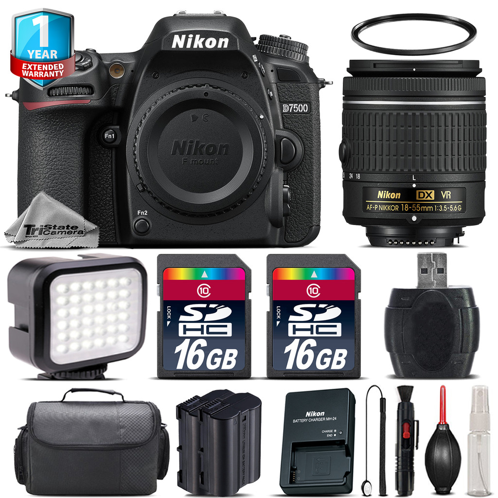 D7500 Camera + AF-P 18-55mm VR + LED + Extra Battery + 1yr Warranty + 32GB *FREE SHIPPING*