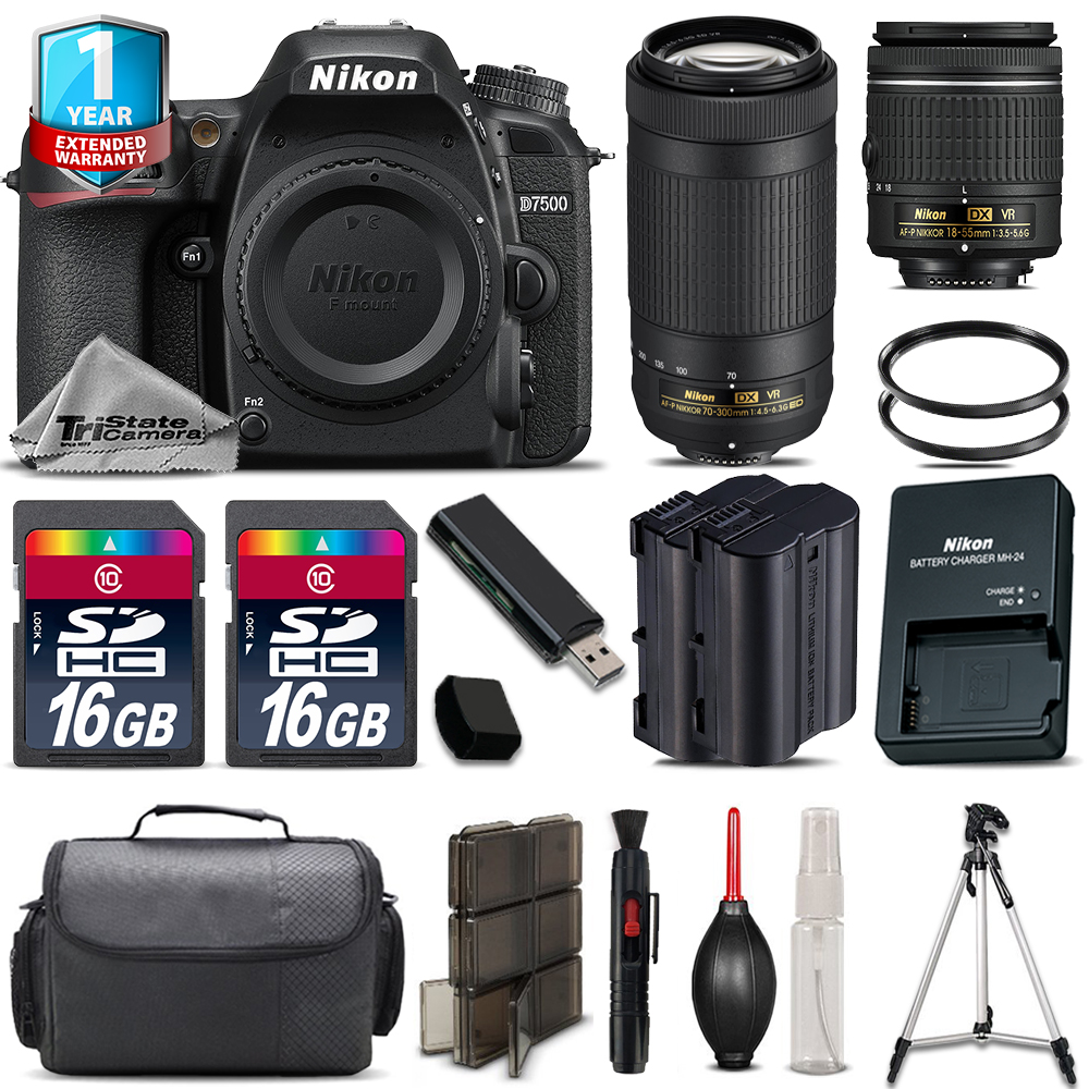 D7500 Camera + AF-P 18-55mm VR + 70-300mm VR + Extra Battery +1yr Warranty *FREE SHIPPING*