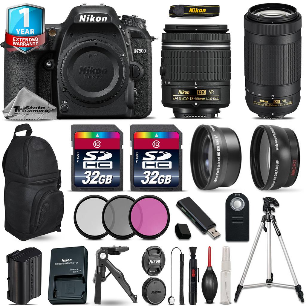 D7500 Camera + AF-P 18-55mm VR + 70-300mm VR + Filter + 1yr Warranty +64GB *FREE SHIPPING*