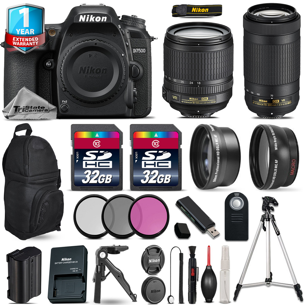 D7500 Camera + 18-105mm VR + 70-300mm VR + Filter + 1yr Warranty +64GB *FREE SHIPPING*