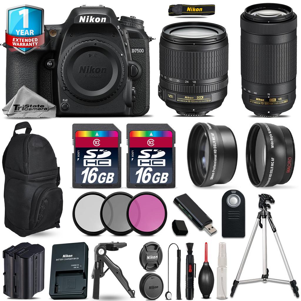 D7500 Camera + 18-105mm VR + 70-300mm VR + Extra Battery +1yr Warranty *FREE SHIPPING*
