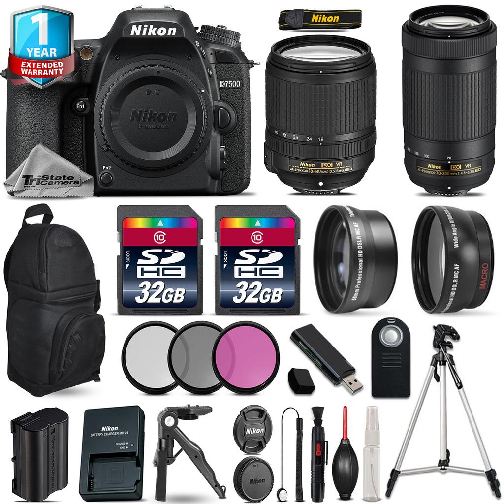 D7500 Camera + AFS 18-140mm VR + 70-300mm VR + Filter + 1yr Warranty +64GB *FREE SHIPPING*