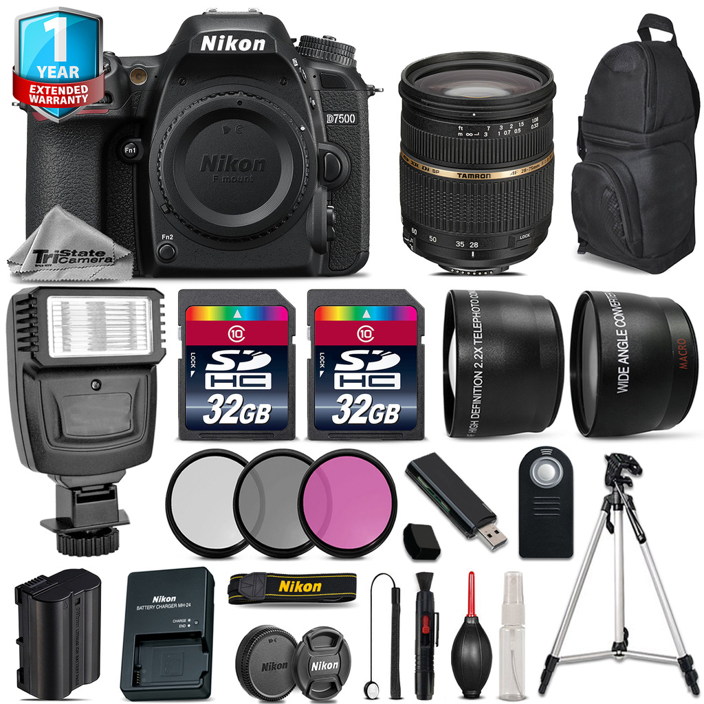 D7500 Camera + 28-75mm 2.8 XR + Flash  + Filters + Remote + 1yr Warranty *FREE SHIPPING*