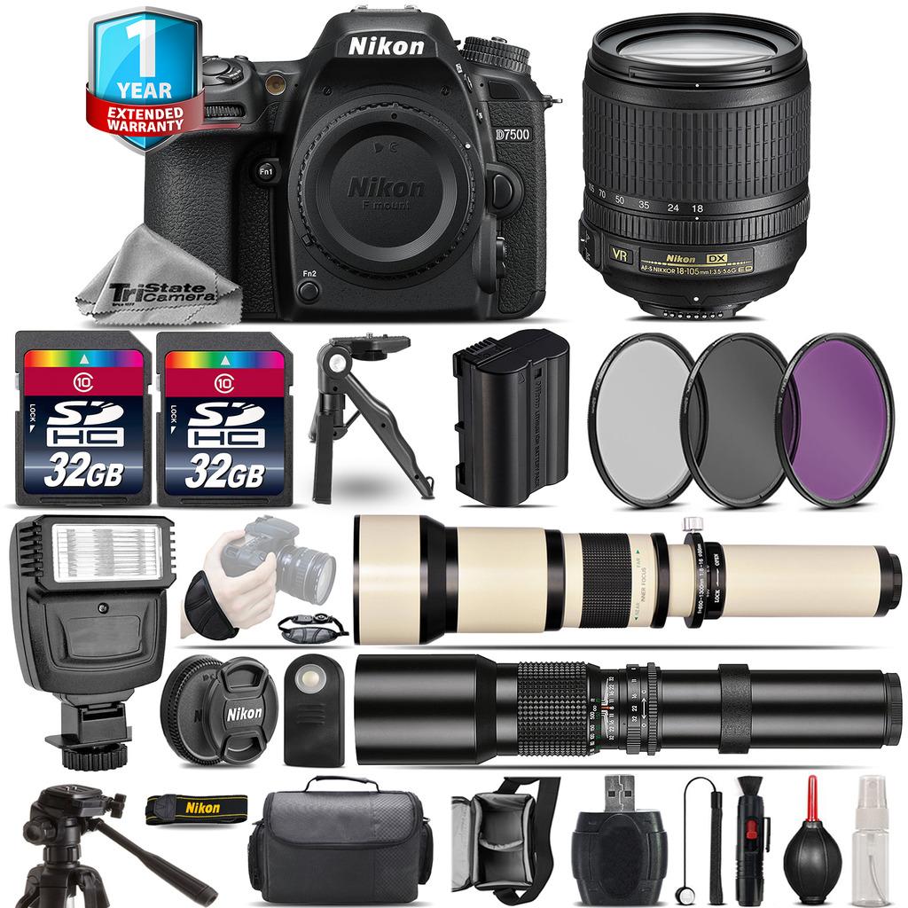 D7500 DSLR Camera + 18-105mm VR + 650-1300mm + 500mm + 1yr Warranty + 64GB *FREE SHIPPING*