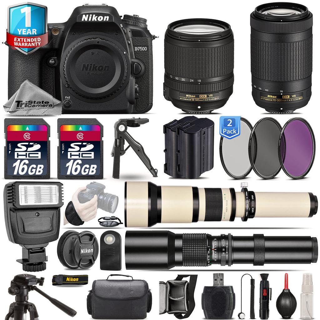 D7500 Camera + 18-140mm VR + 70-300mm VR + Extra Battery + 1yr Warranty *FREE SHIPPING*