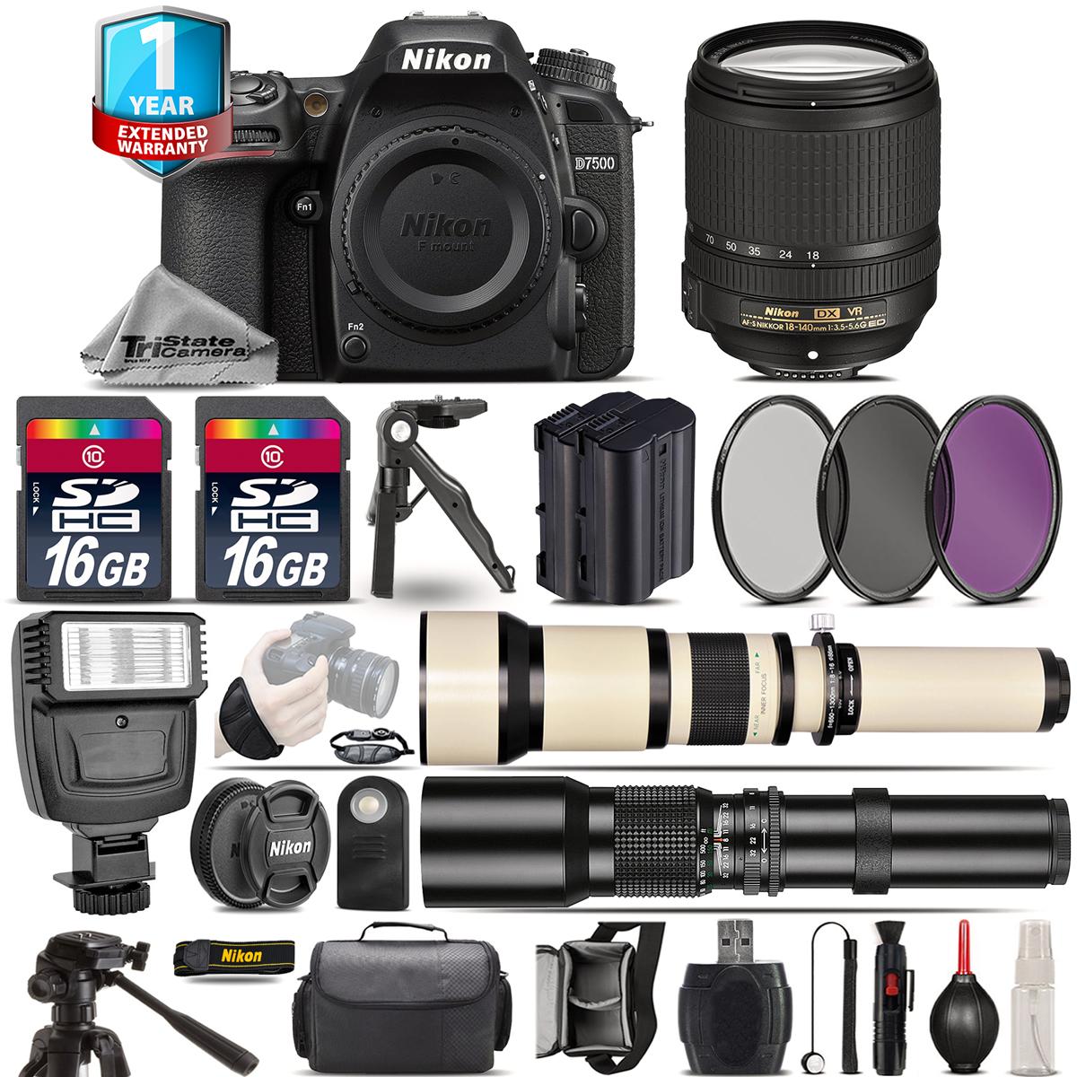 D7500 Camera + AF-S 18-140mm VR - 3 Lens Kit + Extra Battery +1yr Warranty *FREE SHIPPING*