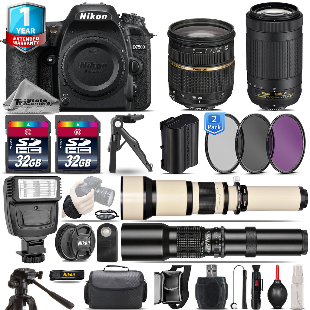 D7500 DSLR Camera + 28-75mm 2.8 XR +  70-300mm VR + 1yr Warranty -64GB Kit *FREE SHIPPING*