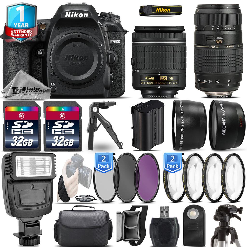 D7500 Camera + AF-P 18-55mm VR + 70-300mm VR + 1yr Warranty + Remote +64GB *FREE SHIPPING*