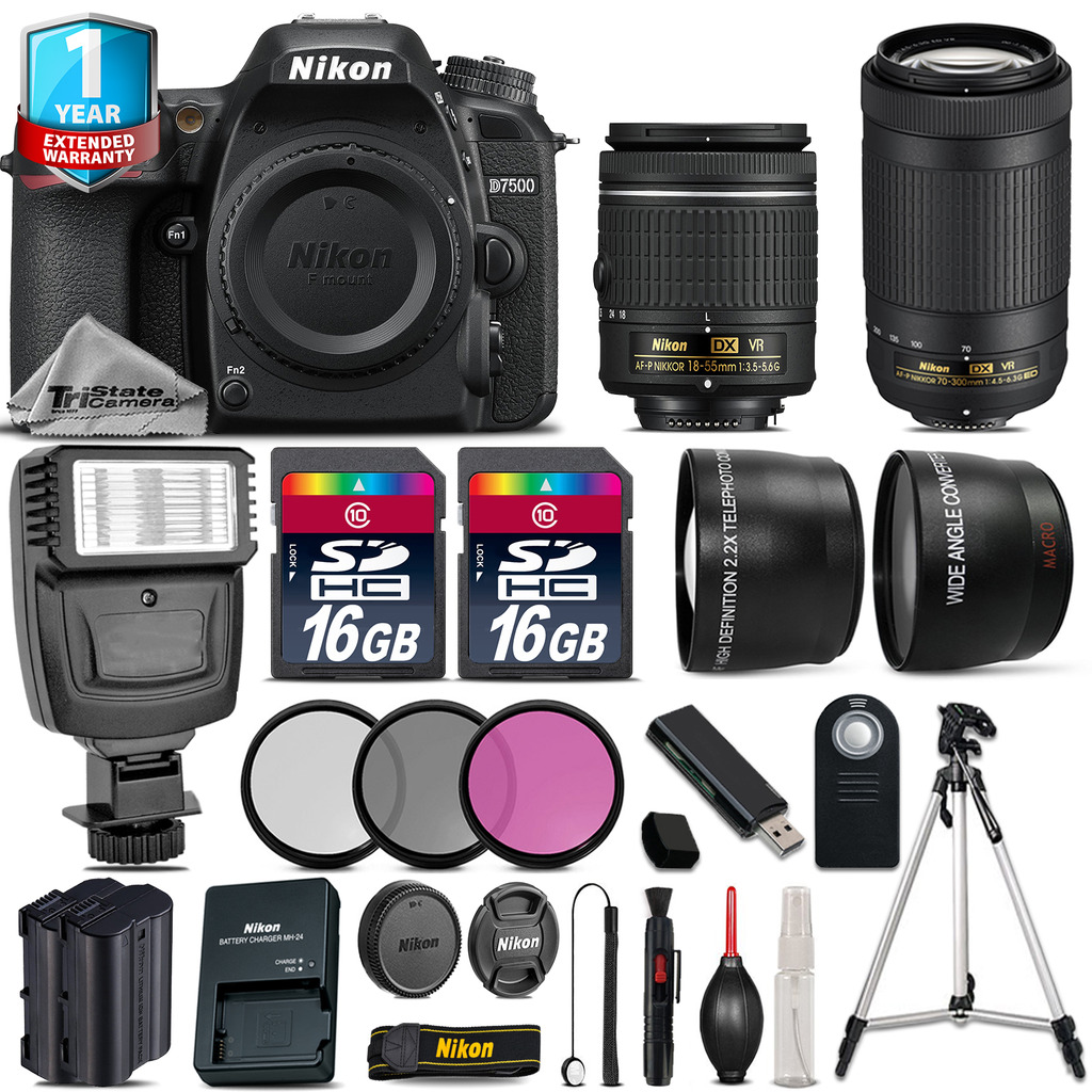 D7500 Camera + AF-P 18-55mm VR + 70-300mm + Flash + EXT BAT + 1yr Warranty *FREE SHIPPING*