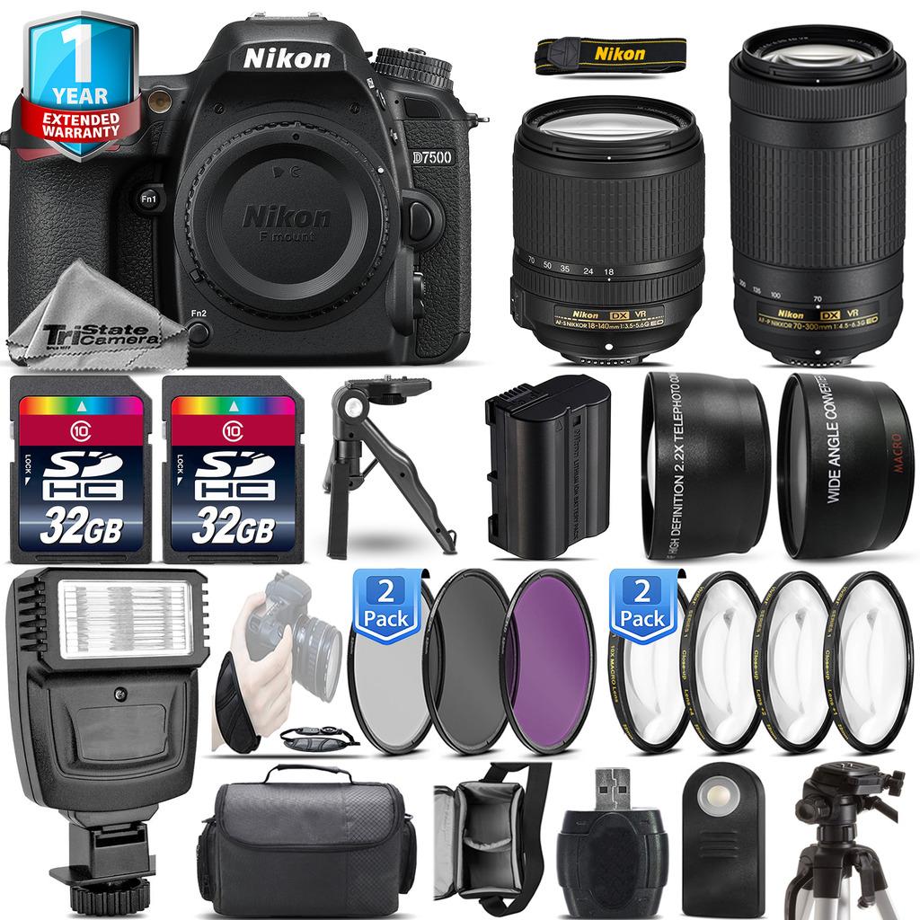D7500 Camera + AFS 18-140mm VR + Nikon 70-300mm VR +1yr Warranty -64GB Kit *FREE SHIPPING*