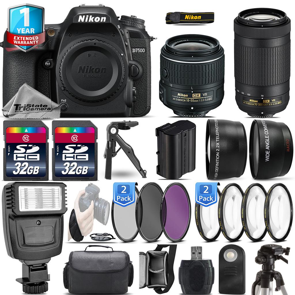 D7500 DSLR Camera + 18-55mm + Nikon 70-300mm VR + 1yr Warranty - 64GB Kit *FREE SHIPPING*
