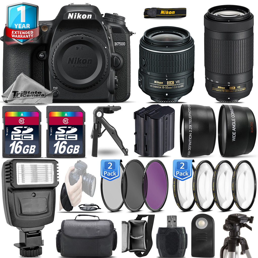 D7500 DSLR Camera + 18-55mm VR + Nikon 70-300  + EXT BATT + 1yr Warranty *FREE SHIPPING*