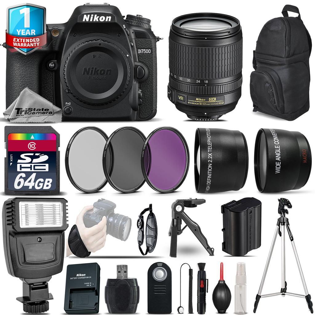 D7500 Camera + 18-105mm VR + 1yr Warranty + Filters + 64GB -Saving Kit *FREE SHIPPING*