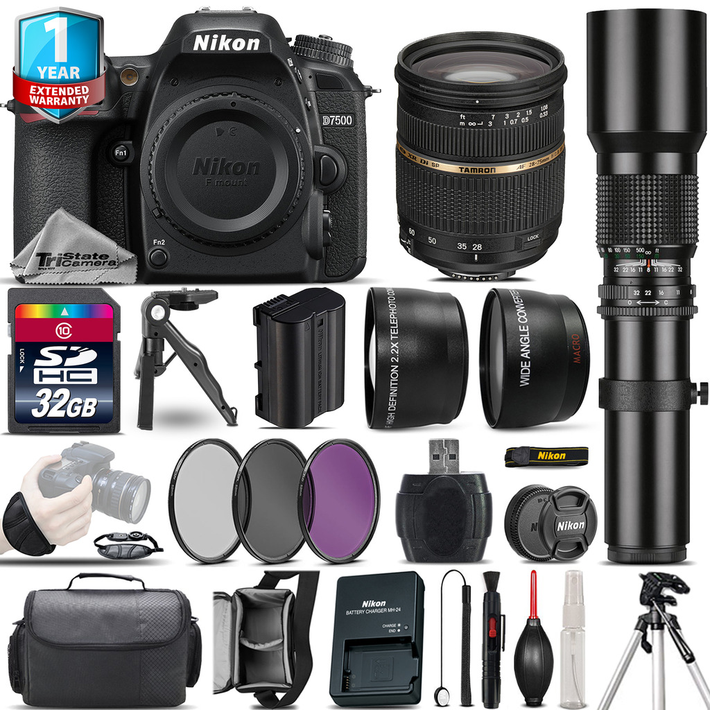 D7500 Camera + 28-75mm 2.8 XR + 500mm Lens + Filter Kit + 1yr Warranty *FREE SHIPPING*