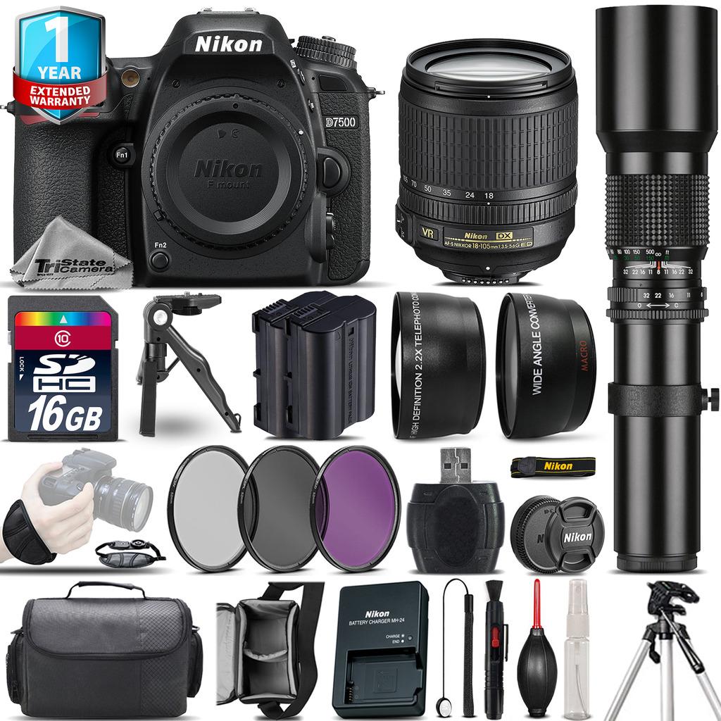 D7500 Camera + 18-105mm VR + 500mm Lens + Extra Battery + 1yr Warranty *FREE SHIPPING*
