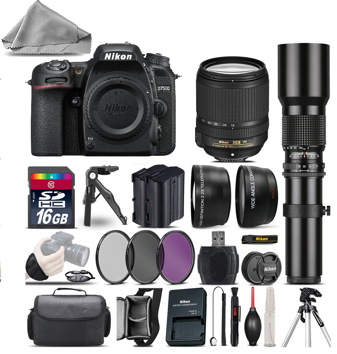 D7500 Camera + AFS 18-140mm VR + 500mm Lens + Extra Battery + 1yr Warranty *FREE SHIPPING*