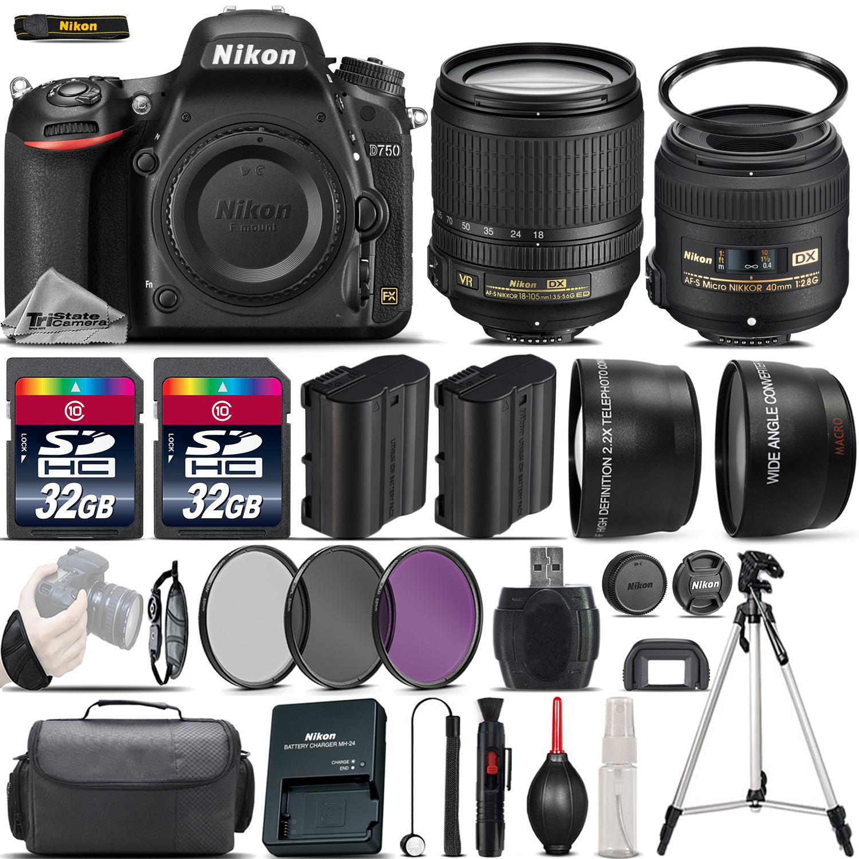 D750 Digital SLR Camera + 18-105mm VR + 40mm 2.8G Lens + 64GB -4 Lens Kit *FREE SHIPPING*