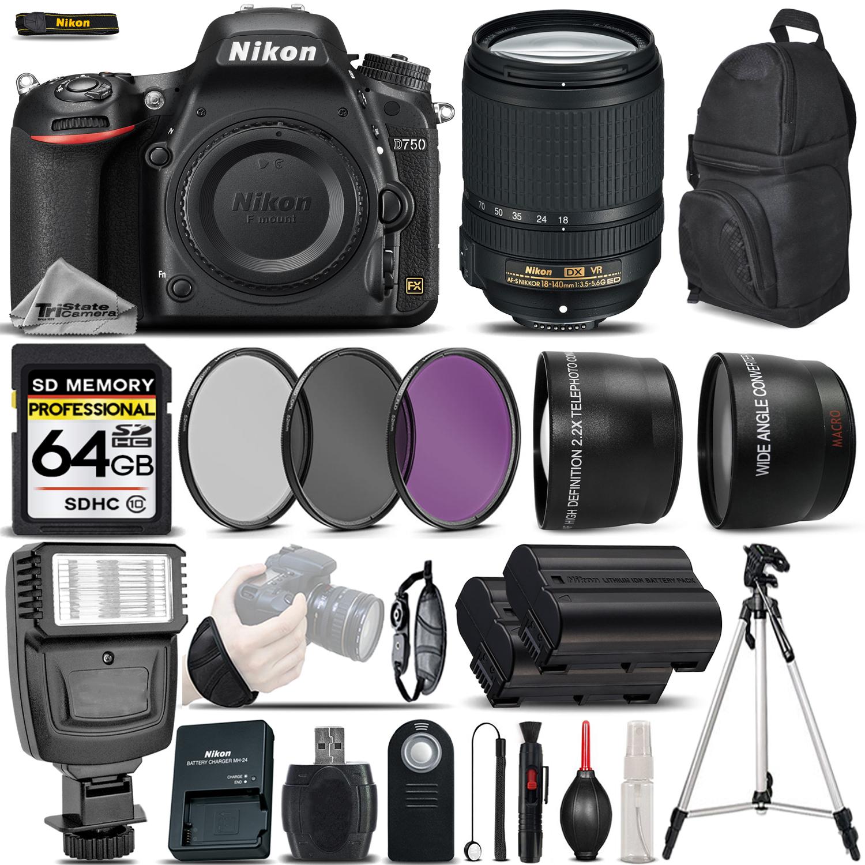 D750 DSLR Camera 24.3MP + Nikon 18-140mm VR Lens - Ultimate Saving Bundle *FREE SHIPPING*
