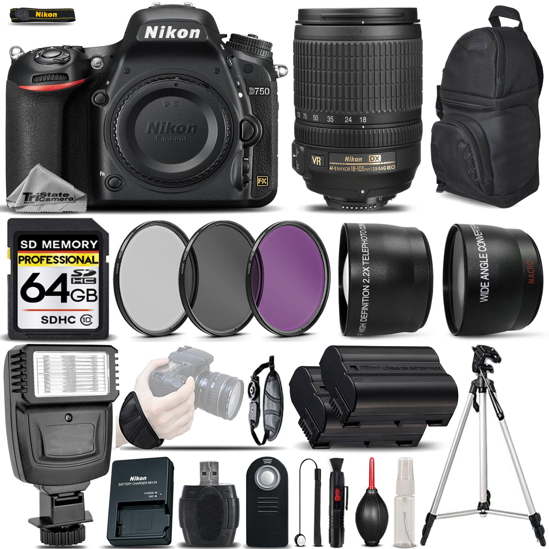 D750 DSLR Camera 24.3MP + Nikon 18-105mm VR Lens - Ultimate Saving Bundle *FREE SHIPPING*