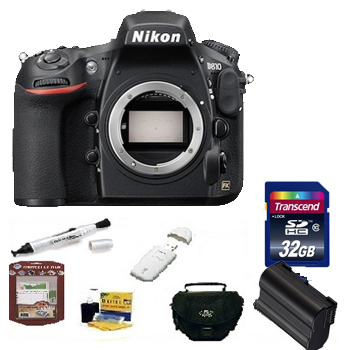 D810 Digital SLR Camera Kit -Black + 32GB Memory Card + Spare Battery + Deluxe SLR Carrying Case + Memory Card Reader + Camera/Lens Cleaning Kit + Pen Style LCD Screen Cleaner + LCD Screen Protectors *FREE SHIPPING*