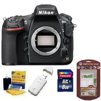 D810 Digital SLR Camera Kit -Black + 8GB Memory Card+ Camera/Lens Cleaning Kit+ LCD Screen Protectors+ Memory Card Reader *FREE SHIPPING*