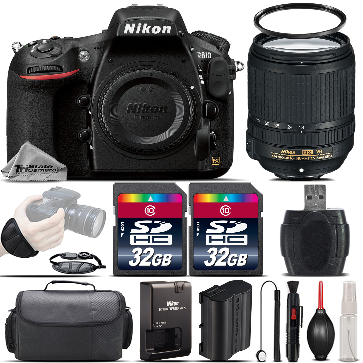 D810 DSLR 36.3MP FX Camera + Nikon 18-140mm VR Lens + Wrist Grip- 64GB Kit *FREE SHIPPING*
