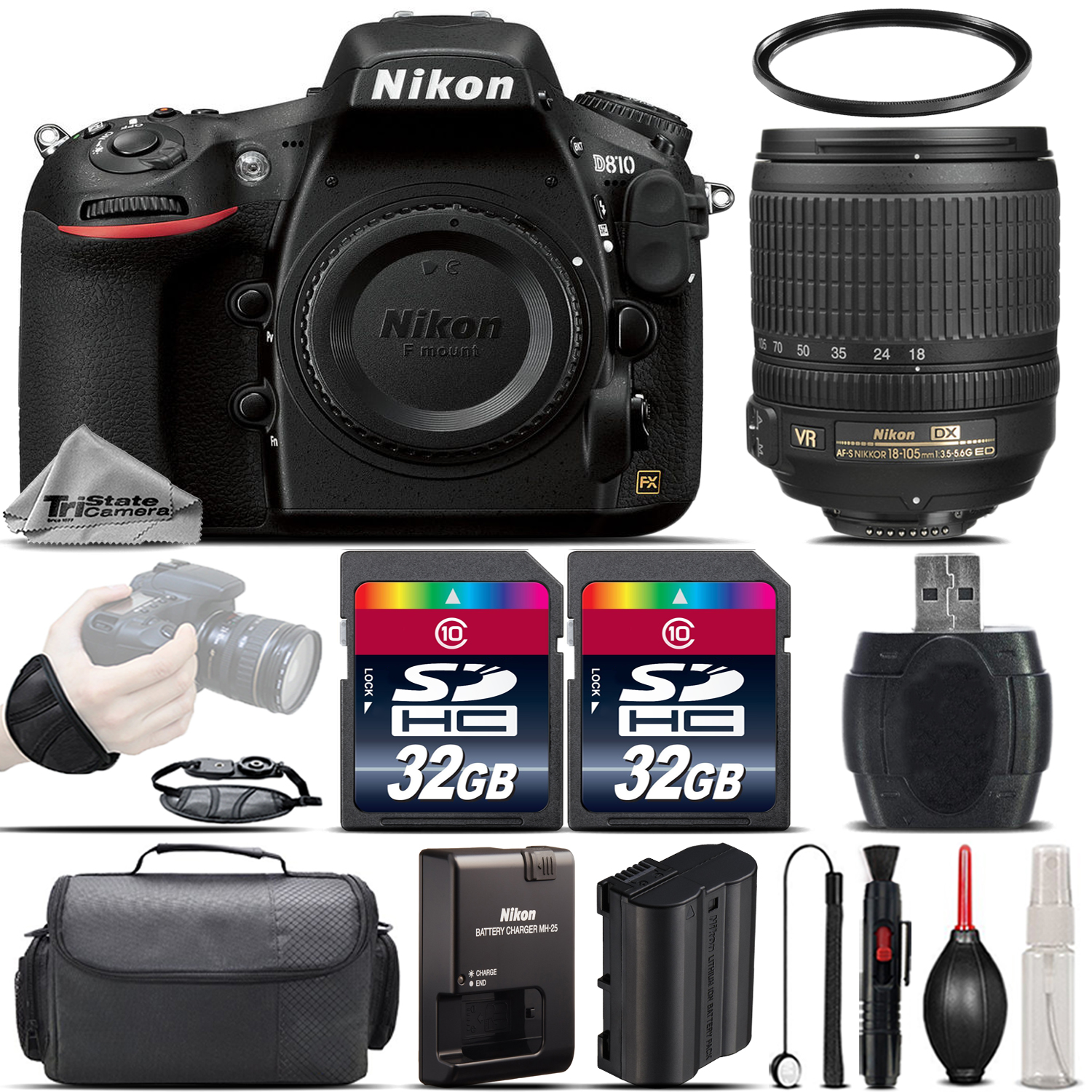 D810 DSLR 36.3MP FX Camera + Nikon 18-105mm VR Lens + Wrist Grip- 64GB Kit *FREE SHIPPING*