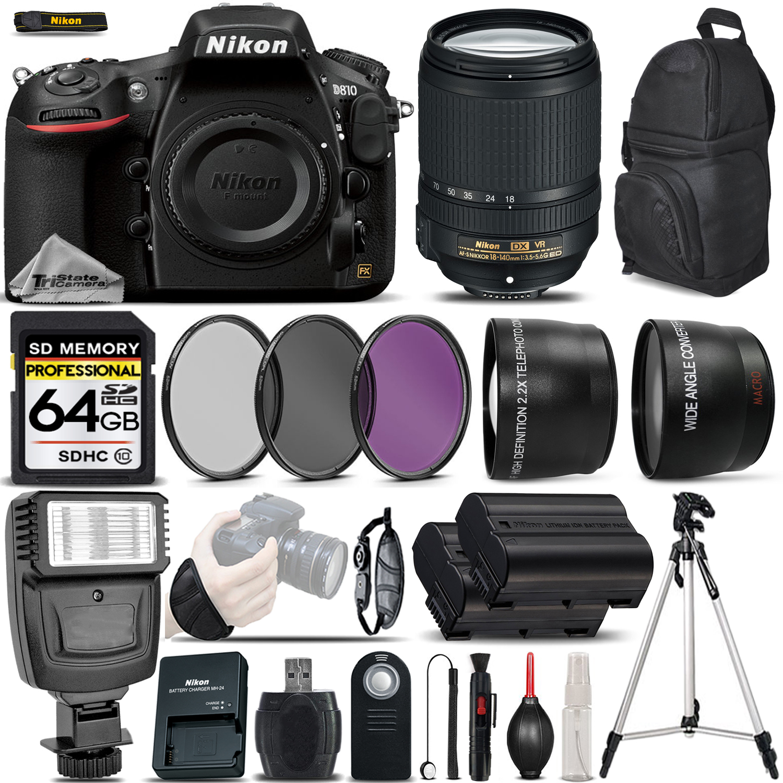D810 DSLR Camera 36.3MP + Nikon 18-140mm VR Lens - Ultimate Saving Bundle *FREE SHIPPING*