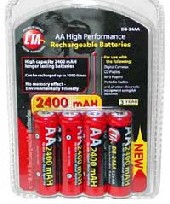 4 Pack 2700 mAh AA Nickel Metal Hydride Rechargeable Batteries