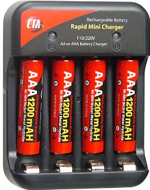 4 AAA 1200 Mah Nickel Metal Hydride Batteries W/Rapid Charger *FREE SHIPPING*
