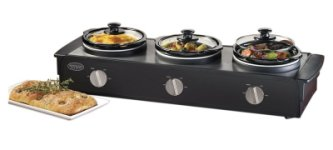 TSC-250BLK 2-1/2-Quart Triple Slow Cooker Buffet, Stainless/Black *FREE SHIPPING*