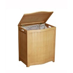 BHP0106N Bowed Front Wood Laundry Hamper, Natural Finish *FREE SHIPPING*