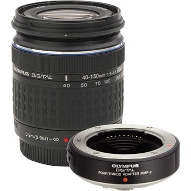 E 40-150/4.0-5.6 ED IF Zuiko Digital Telephoto Zoom Lens Plus MMF-2 Four Thirds Mount Adapter Kit For Ep Pen Series Digital SLR Cameras *FREE SHIPPING*