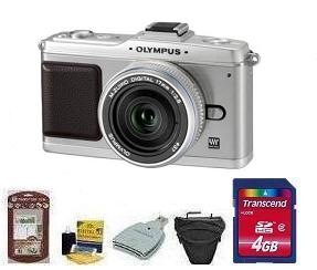 E-P2 SILVR BODY W/17MM SILVER• 4GB Memory Card• Camera/Lens Cleaning Kit• LCD Screen Protectors• Memory Card Reader• Deluxe SLR Carrying Case *FREE SHIPPING*