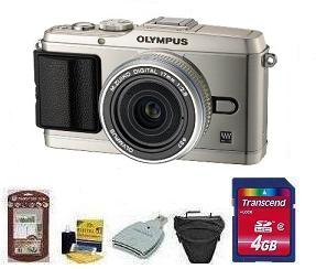 E-P3 Silver W/17mm Silver Kit• 4GB Memory Card• Camera/Lens Cleaning Kit• LCD Screen Protectors• Memory Card Reader• Deluxe SLR Carrying Case *FREE SHIPPING*