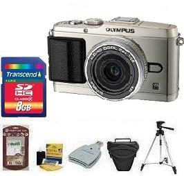 E-P3 Silver W/17mm Silver Kit• 8GB Memory Card• Camera/Lens Cleaning Kit• LCD Screen Protectors• Memory Card Reader• Deluxe SLR Carrying Case• Davis and Sanford Traveler TriPod *FREE SHIPPING*