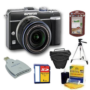 PEN E-PL1 Digital SLR Camera (Black) w/ 14-42mm Zoom Lens (Black) + 2GB Memory Card+ Camera/Lens Cleaning Kit+ LCD Screen Protectors+ Memory Card Reader+ Deluxe SLR Carrying Case+ Davis And *FREE SHIPPING*