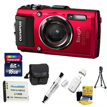 Tough TG-4 Digital Camera - Red - 16GB Memory Card, Lens Cleaning Kit, Camera Case, Pen LCD Screen Cleaner, Table-Top Tripod, Replacement Battery, Card Reader - Deluxe Kit *FREE SHIPPING*