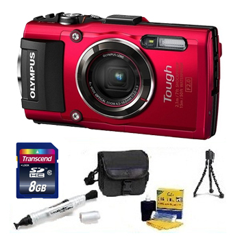 Tough TG-4 Digital Camera - Red - 8GB Memory Card, Lens Cleaning Kit, Camera Case, Pen LCD Screen Cleaner, Table-Top Tripod - Essential Kit *FREE SHIPPING*