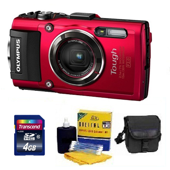 Tough TG-4 Digital Camera - Red - 4GB Mem Card, Carrying Case & Cleaning Kit - Value Kit *FREE SHIPPING*