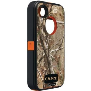 iPhone 4S Defender Series Case - Blaze Orange / AP Camo Pattern