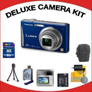 DMC-FH25 Digital Camera - Blue with Deluxe Accessory Kit (8GB Mem Card, Card Reader, Carrying Case, Spare Battery & More) *FREE SHIPPING*