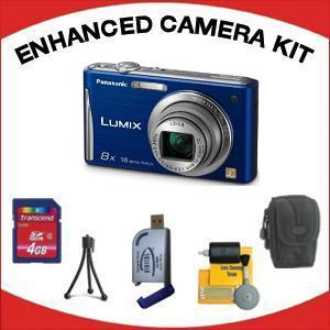 DMC-FH25 Digital Camera - Blue with Enhanced Accessory Kit (4GB Mem Card, Card Reader, Carrying Case, Tripod & Cleaning Kit) *FREE SHIPPING*