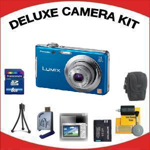 LUMIX DMC-FH2A Digital Camera - Blue with Deluxe Accessory Kit (8GB Mem Card, Card Reader, Carrying Case, Spare Battery & More) *FREE SHIPPING*