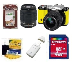 K-01 Digital SLR Camera w/ 18-55 & 50-200mm Dual Lens Kit - Yellow + 4GB Memory Card+ Camera/Lens Cleaning Kit+ LCD Screen Protectors+ Memory Card Reader *FREE SHIPPING*