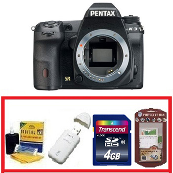 K-3 DSLR Camera Body Only • 4GB Memory Card• Camera/Lens Cleaning Kit• LCD Screen Protectors• Memory Card Reader *FREE SHIPPING*