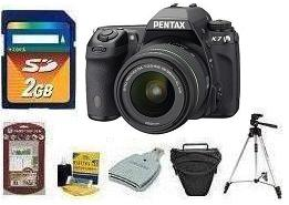 K-7 Digital SLR Camera W/ DA  18-55mm WR Lens • 2GB Memory Card• Camera/Lens Cleaning Kit• LCD  Screen Protectors• Memory Card Reader• Deluxe SLR Carrying Case• DA vis And Sanford Traveler Tripod *FREE SHIPPING*